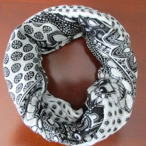 Loft Paisley Floral Infinity Scarf, Black White